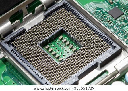 CPU Socket Close up - stock photo