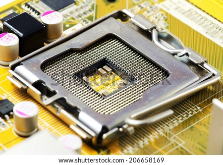CPU socket on a computer motherboard. - stock photo