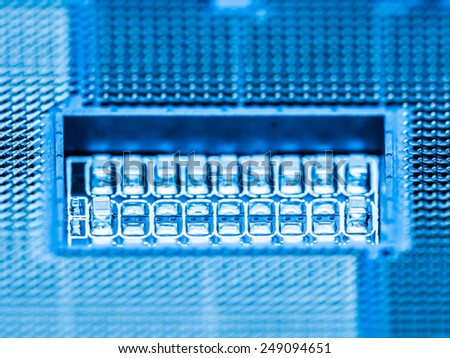 CPU Socket On Computer Motherboard Close Up - stock photo