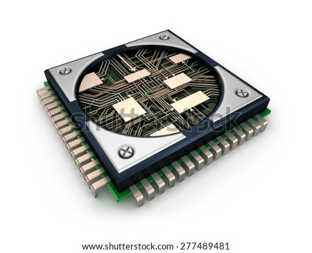 CPU with visible circuits over white background - stock photo