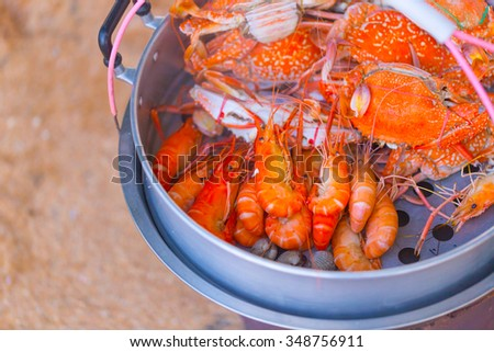 Crab and shrimp steamed sell around sea beach, Pattaya Chonburi Thailand. - stock photo