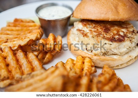 Crab cake sandwich and seasoned waffle fries on a plate - stock photo