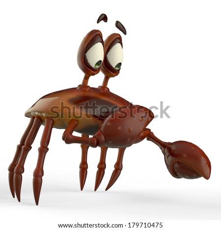 crab cartoon is so affreid - stock photo