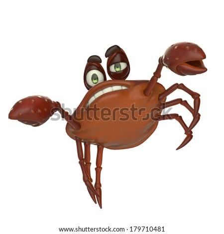 crab cartoon jumping - stock photo
