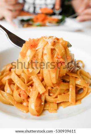 Crab Fettucini on white plate