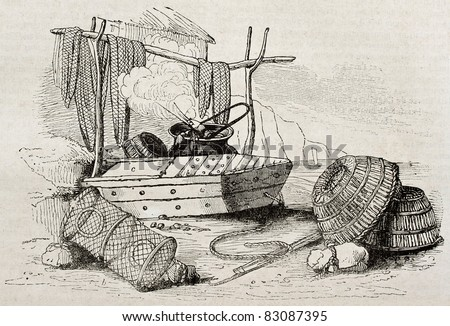 Crab fishing equipment old illustration. By unidentified author, published on Magasin Pittoresque, Paris, 1840 - stock photo
