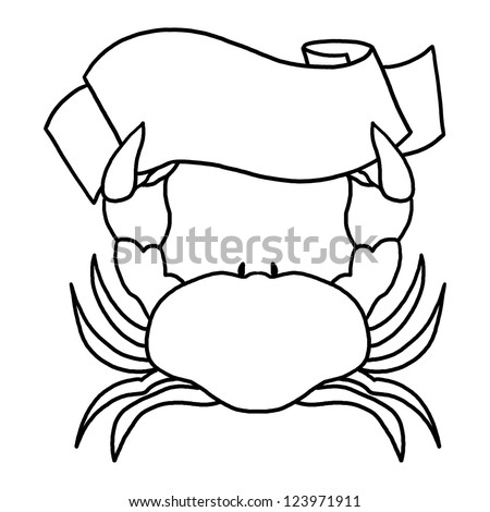 Crab Holding a Sign Illustration; Outline drawing of a crab - stock photo