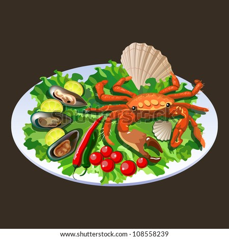 Crab in the dish with salad, tomatoes and mollusks with lemon slices (see eps version in my portfolio) - stock photo
