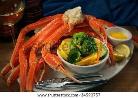 Crab Legs and Veggies - stock photo
