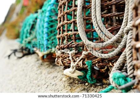 Crab/lobster pots, coastal elements. - stock photo