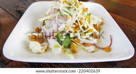 Crab meat and crap eggs salad,thai sea food - stock photo