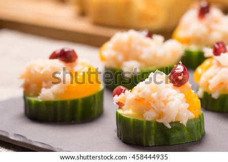 Crab meat appetizer  served on Cucumber slices