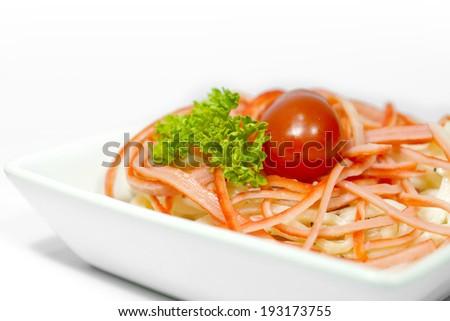 crab meat salad closeup - stock photo