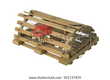 Crab pot of wood and netting used to catch shellfish - path included - stock photo