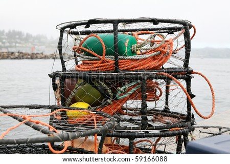 Crab Pots, Traps stacked in Pacific Northwest - stock photo