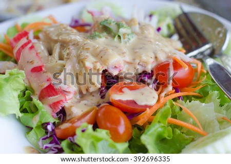 crab salad in white dish