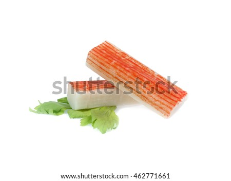 crab sticks group isolated on white background