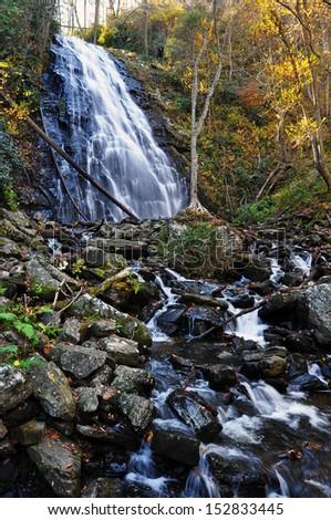 Crab tree waterfall North Carolina fall foliage - stock photo
