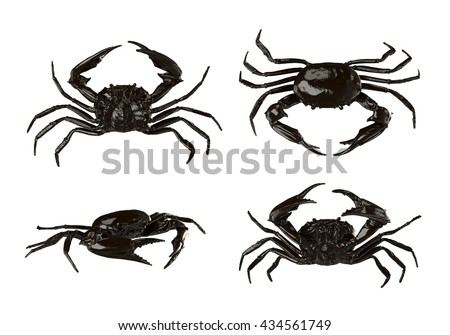 Crabs isolated on White Background. 3D illustration - stock photo
