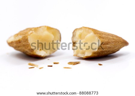crack almond with isolate background - stock photo
