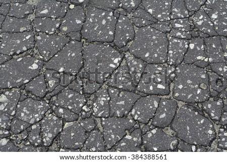 Crack asphalt background real photo street ground - stock photo