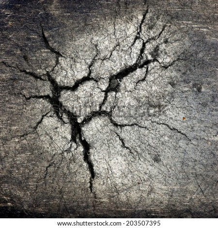 crack at iron cast surface ; abstract background - stock photo