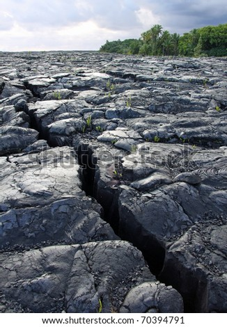 Crack in the Lava field near Kalapana (Big Island, Hawaii)