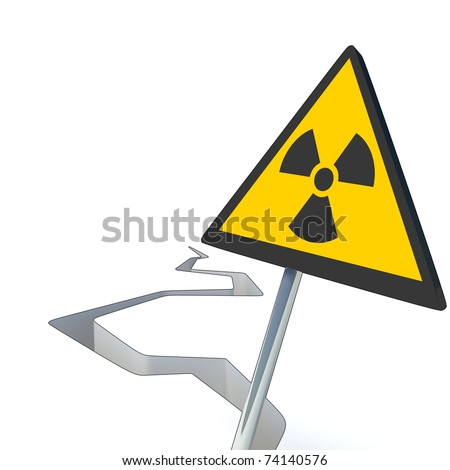 Crack made from earthquake together with the warning sign for radiation, made in 3D software. - stock photo