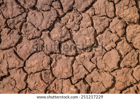 Crack soil on dry season, Global warming effect - stock photo