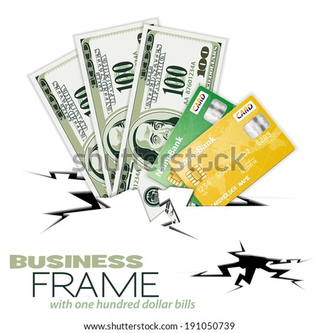 Crack with Three Hundred Dollar Bills and Credit Cards, illustration - stock photo