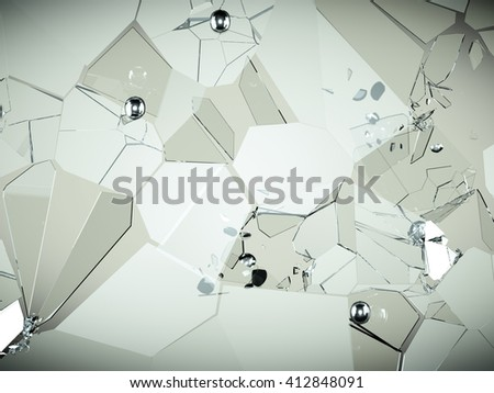Cracked and broken glass pieces with high resolution - stock photo