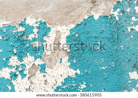 cracked blue concrete vintage wall background. - stock photo