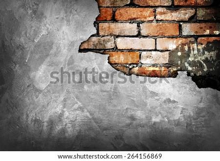 cracked brick wall  - stock photo