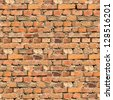 Cracked Brown Brick Wall Texture. Grunge Seamless Tileable Texture. - stock photo