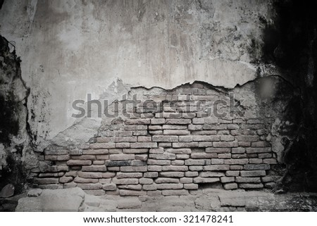 cracked cement and old brick wall, Black and white textured background