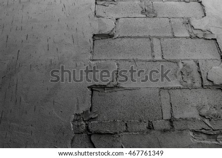 Cracked cement wall show brick texture