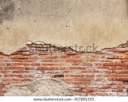 cracked concrete vintage brick wall background - stock photo