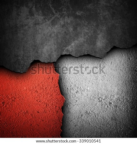 cracked concrete wall  - stock photo