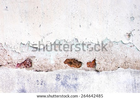 Cracked decay painted concrete wall texture background,grunge wall. - stock photo