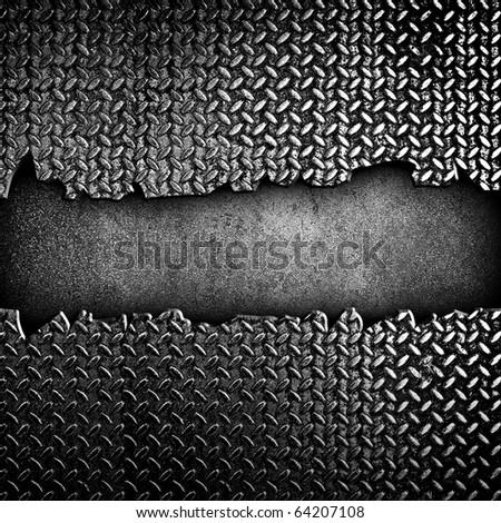 cracked diamond metal plate - stock photo