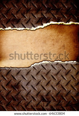 cracked diamond plate with place for text - stock photo