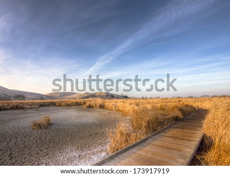Cracked dry ground near Fremont, California, USA - stock photo