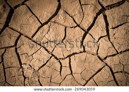 Cracked dry land. Natural background. Toned.