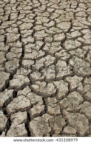 Cracked dry land without water - stock photo