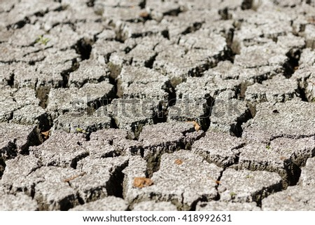 Cracked earth after drought - stock photo