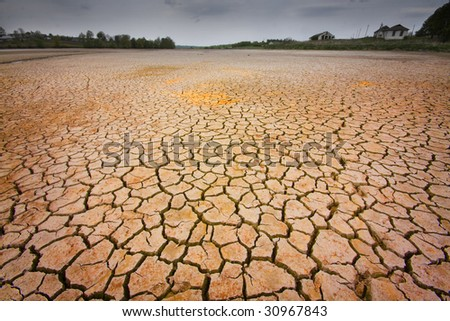 cracked earth - concept image of global warming - stock photo