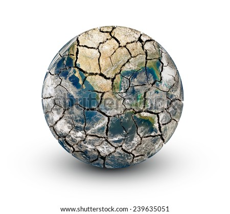 Cracked earth planet isolated on a white background. Elements of this image furnished by NASA (http://www.nasa.gov/) - stock photo