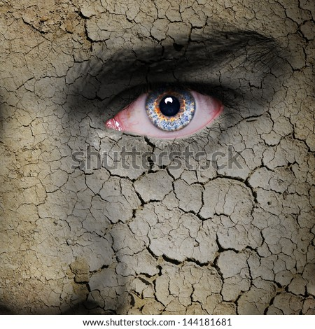 Cracked earth texture on angry man face