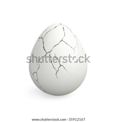 cracked egg - stock photo