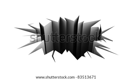 cracked floor. black hole in the white pavement. - stock photo